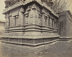 Ruins of Vijianuggur [Vijayanagara] near Calamapoor [Kamalapuram]. A small ruined temple called the Volkonda [Ramachandra Temple]. Carvings in detail on small temple.